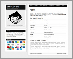 "Wordpress шаблон ""zeeBizzCard"""
